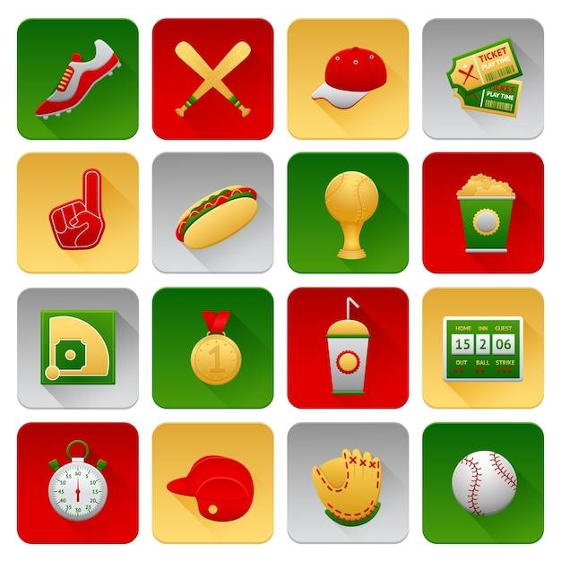 Conjunto de ícones do basebol Vetor grátis