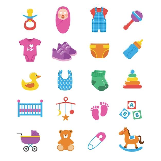 Conjunto de ícones do bebê Vetor Premium