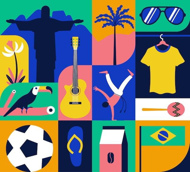 Conjunto de ícones do brasil, padrão, cor de fundo. estátua, flor, tucano, futebol, violão, capoeira, café, palmeira, t-shirt, maracas, bandeira, óculos de sol, chinelos. Vetor Premium