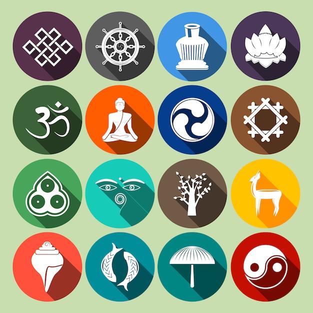 Conjunto de ícones do budismo plano Vetor Premium