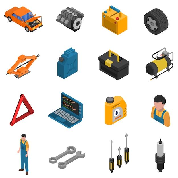 Conjunto de ícones do carro serviço isométrico isolado Vetor grátis