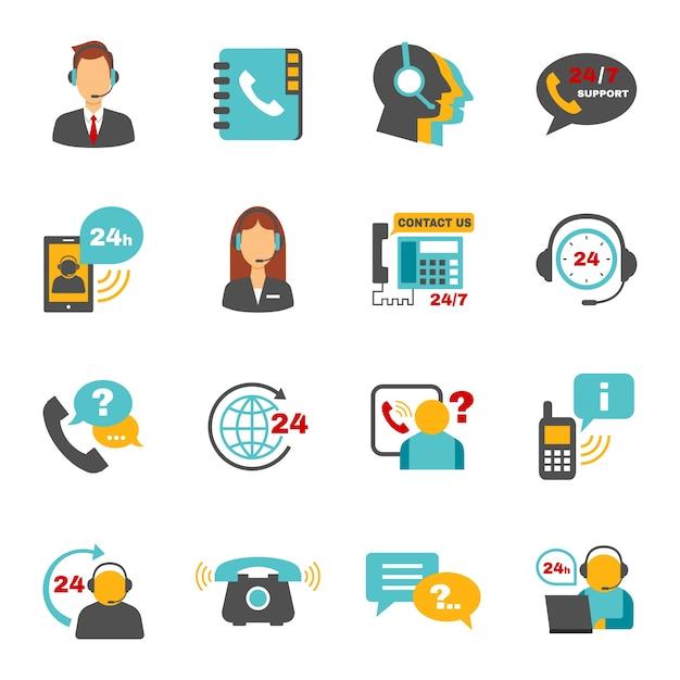 Conjunto de ícones do centro de chamadas de contato de suporte Vetor grátis