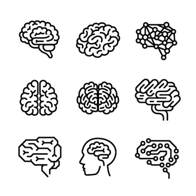 Conjunto de ícones do cérebro, estilo de estrutura de tópicos Vetor Premium