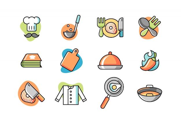 Conjunto de ícones do chef Vetor Premium