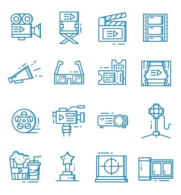 Conjunto de ícones do cinema com estilo de estrutura de tópicos Vetor Premium