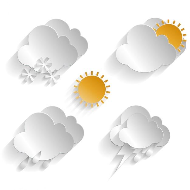 Conjunto de ícones do clima Vetor Premium