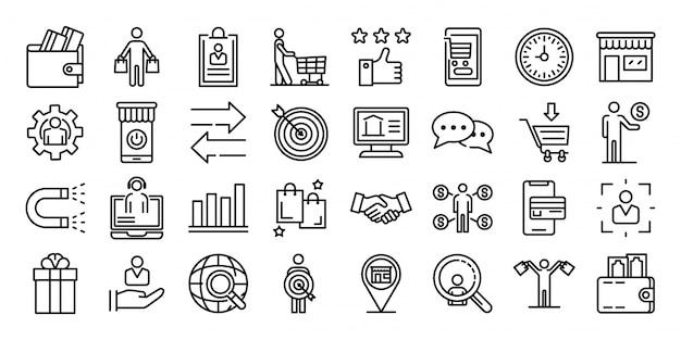 Conjunto de ícones do comprador, estilo de estrutura de tópicos Vetor Premium