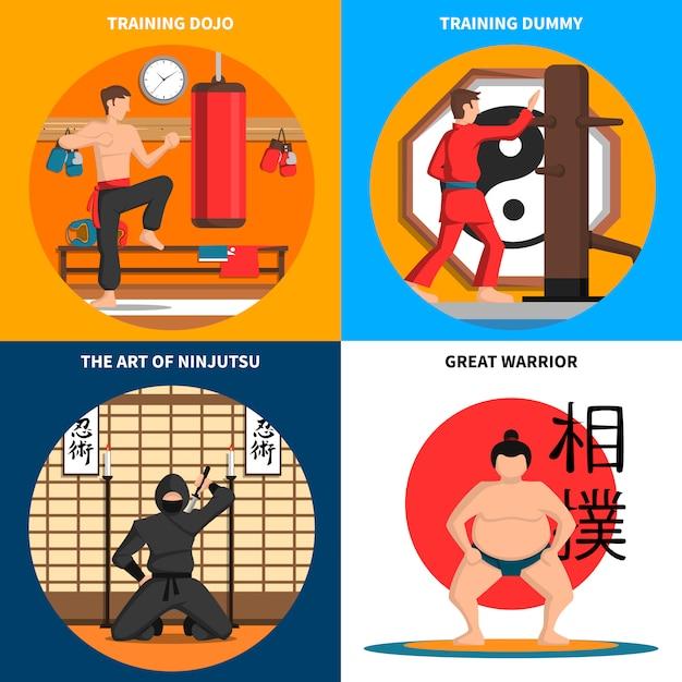 Conjunto de ícones do conceito de artes marciais Vetor grátis