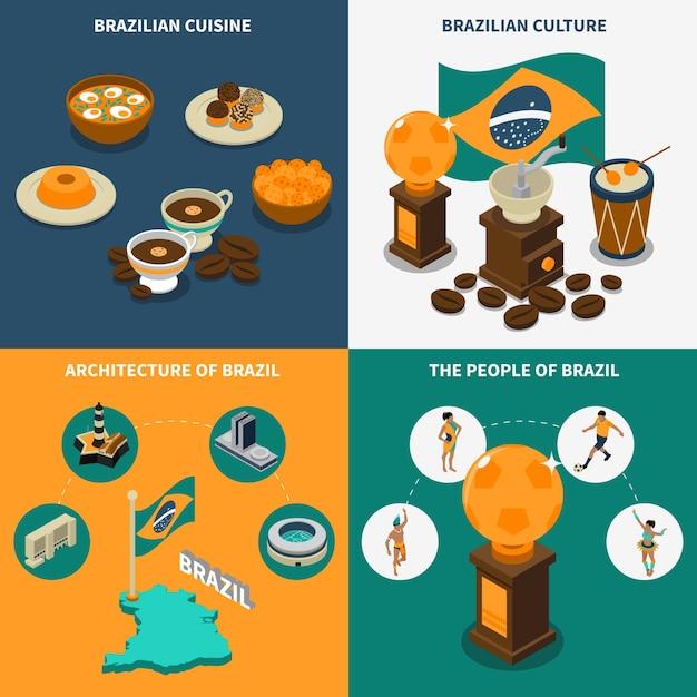 Conjunto de ícones do conceito de brasil Vetor grátis