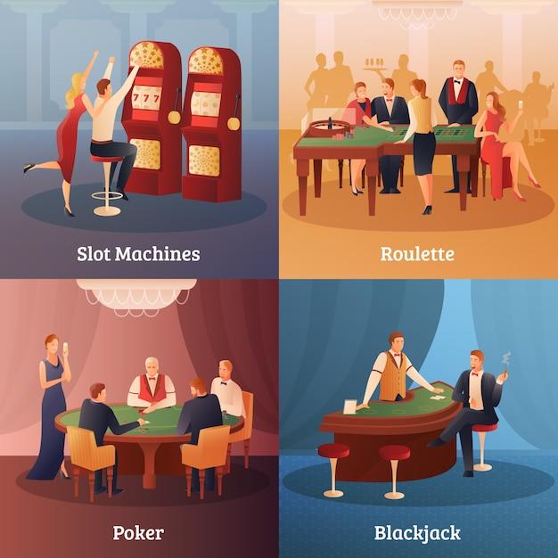 Conjunto de ícones do conceito de cassino Vetor grátis