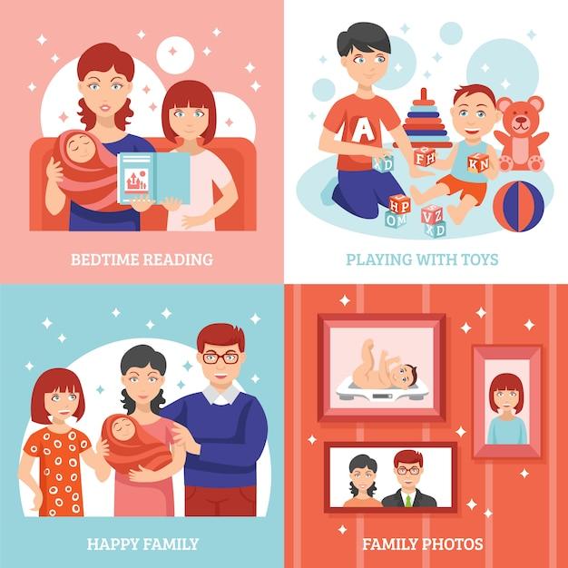 Conjunto de ícones do conceito de família Vetor grátis