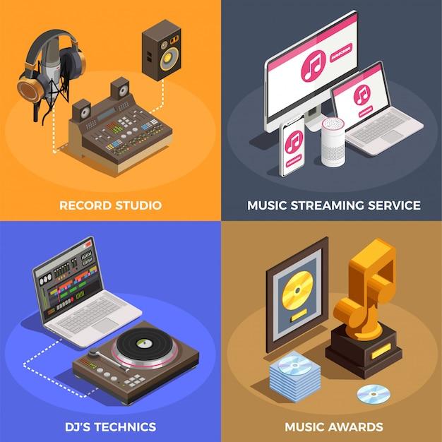 Conjunto de ícones do conceito de indústria da música Vetor grátis