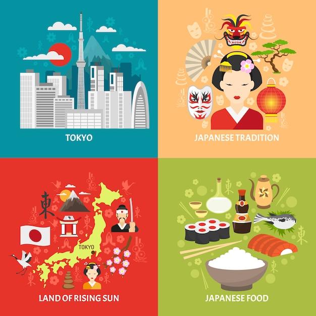 Conjunto de ícones do conceito de japão Vetor grátis