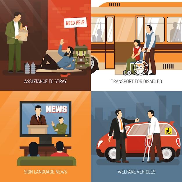 Conjunto de ícones do conceito de pessoas com deficiência Vetor grátis