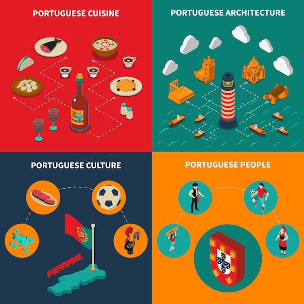 Conjunto de ícones do conceito de portugal Vetor grátis