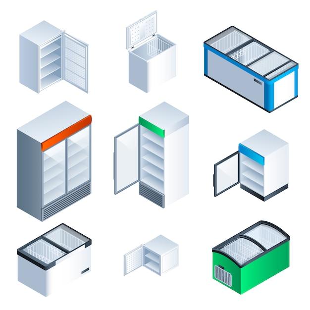 Conjunto de ícones do congelador. isométrico conjunto de congelador Vetor Premium