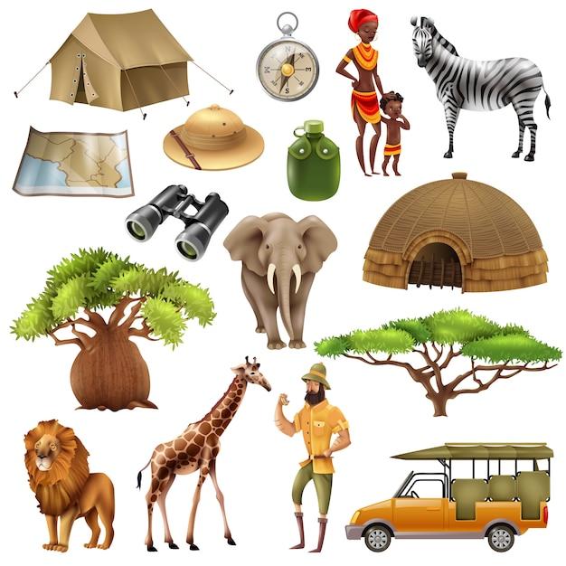 Conjunto de ícones do conjunto de safari Vetor grátis