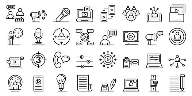 Conjunto de ícones do contador de histórias, estilo de estrutura de tópicos Vetor Premium