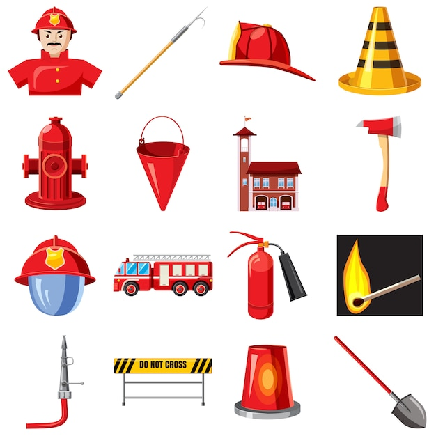 Conjunto de ícones do corpo de bombeiros, estilo cartoon Vetor Premium