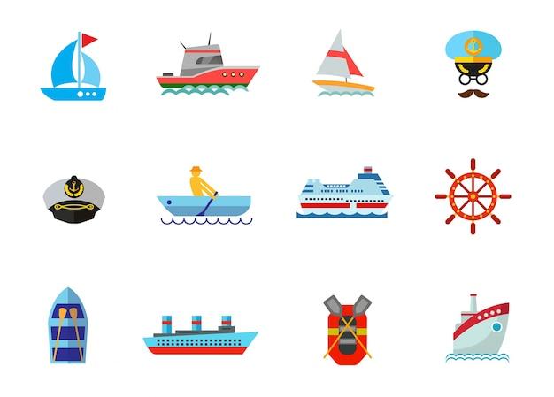 Conjunto de ícones do cruzeiro Vetor grátis