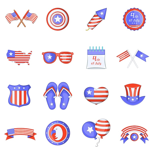 Conjunto de ícones do dia da independência Vetor Premium