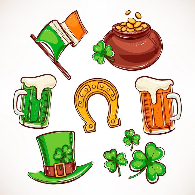 Conjunto de ícones do dia de são patrício. pote de ouro, copos de cerveja, folhas de trevo Vetor Premium