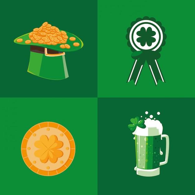 Conjunto de ícones do dia de são patrício Vetor Premium
