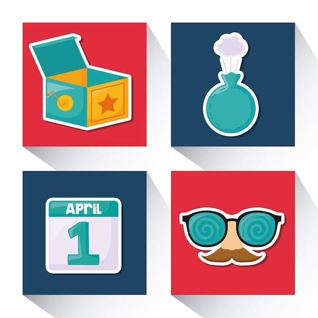 Conjunto de ícones do dia dos inflados de abril Vetor Premium