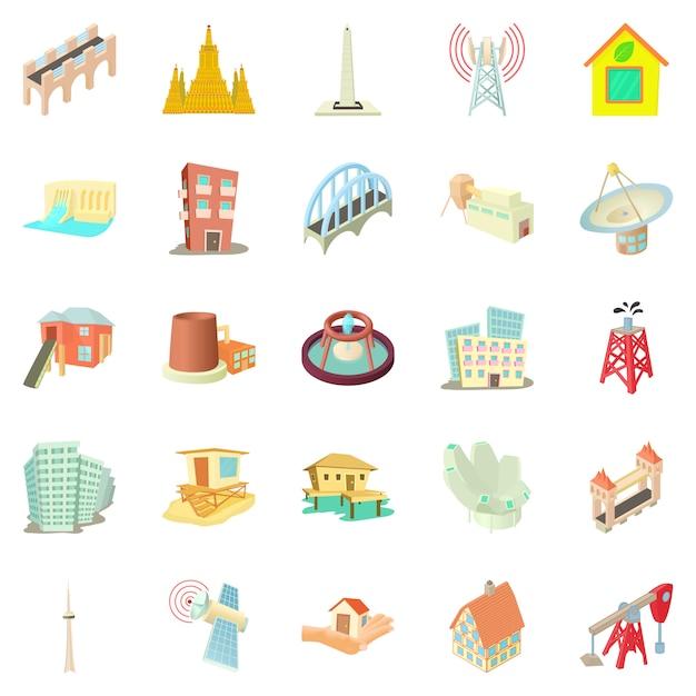 Conjunto de ícones do edifício, estilo cartoon Vetor Premium