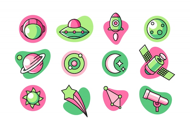 Conjunto de ícones do espaço Vetor Premium