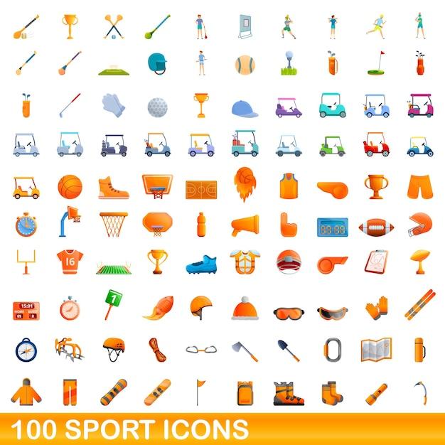 Conjunto de ícones do esporte. ilustração dos desenhos animados de ícones do esporte em fundo branco Vetor Premium