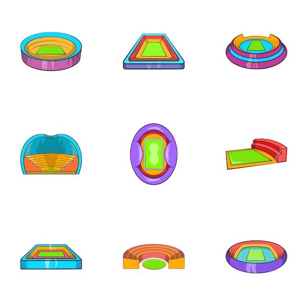 Conjunto de ícones do estádio, estilo cartoon Vetor Premium