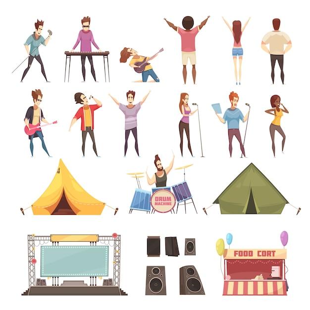 Conjunto de ícones do festival ao ar livre Vetor grátis