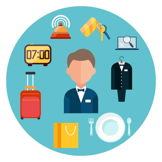Conjunto de ícones do hotel. homem em torno de ícones de item de hotel em design plano Vetor Premium