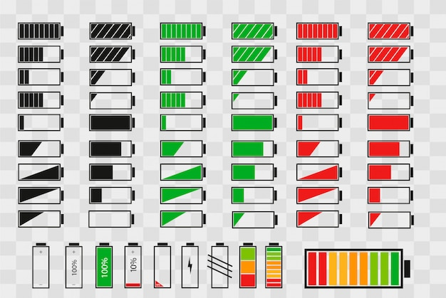 Conjunto de ícones do indicador de carga da bateria Vetor Premium