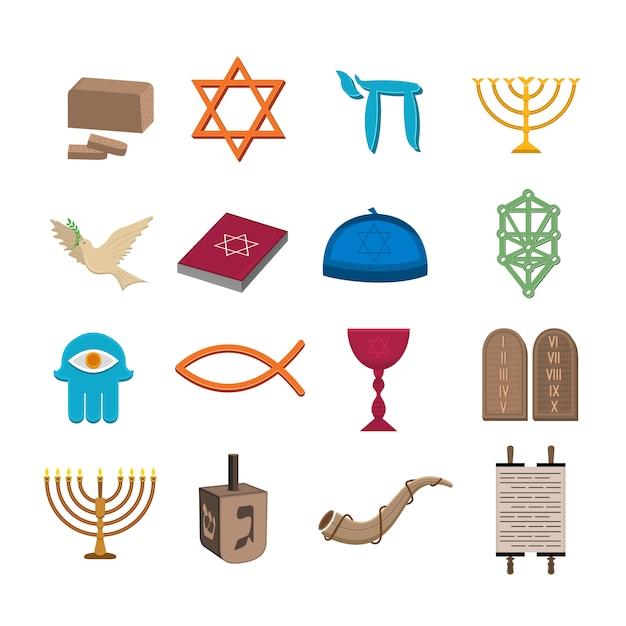 Conjunto de ícones do judaísmo Vetor Premium