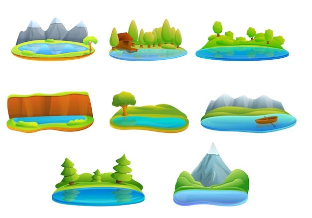 Conjunto de ícones do lago, estilo cartoon Vetor Premium