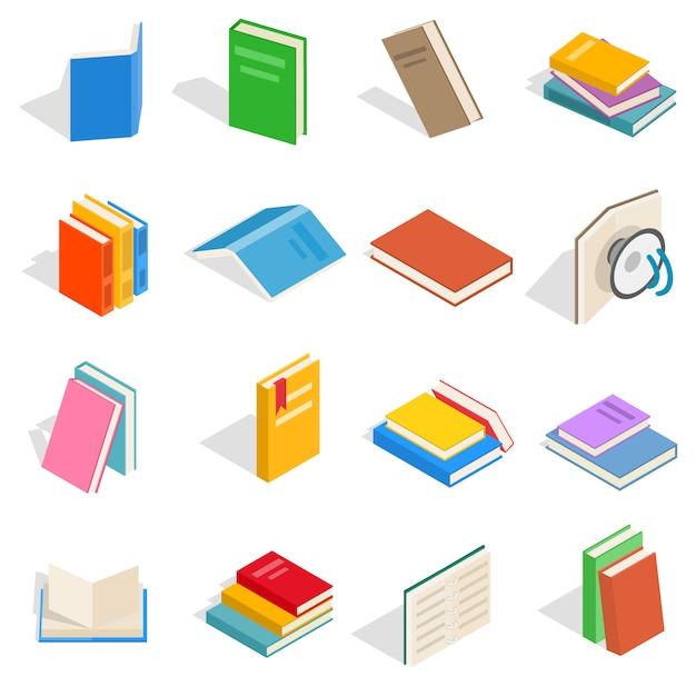 Conjunto de ícones do livro isométrica. ícones de livro universal para usar para web e interface do usuário móvel, conjunto de elementos básicos livro isolado ilustração vetorial Vetor Premium