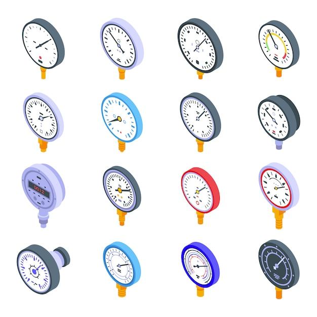 Conjunto de ícones do manômetro. conjunto isométrico de ícones vetoriais de manômetro para web design isolado no espaço em branco Vetor Premium