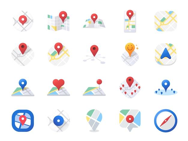 Conjunto de ícones do mapa. Vetor Premium