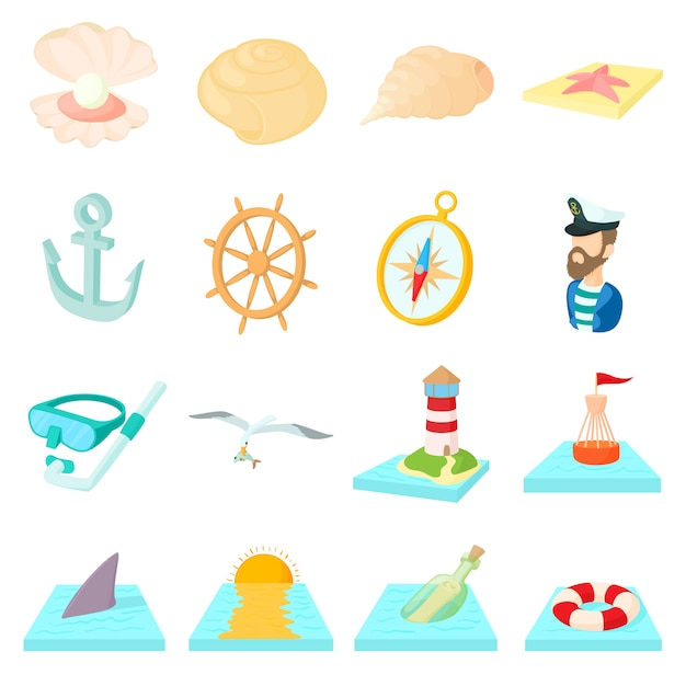 Conjunto de ícones do mar em estilo cartoon, isolado no fundo branco Vetor Premium