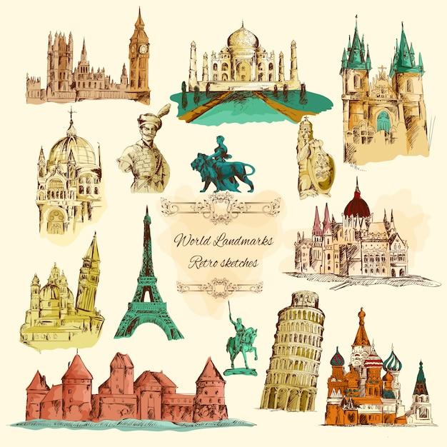 Conjunto de ícones do mundo marcos esboço vintage Vetor grátis