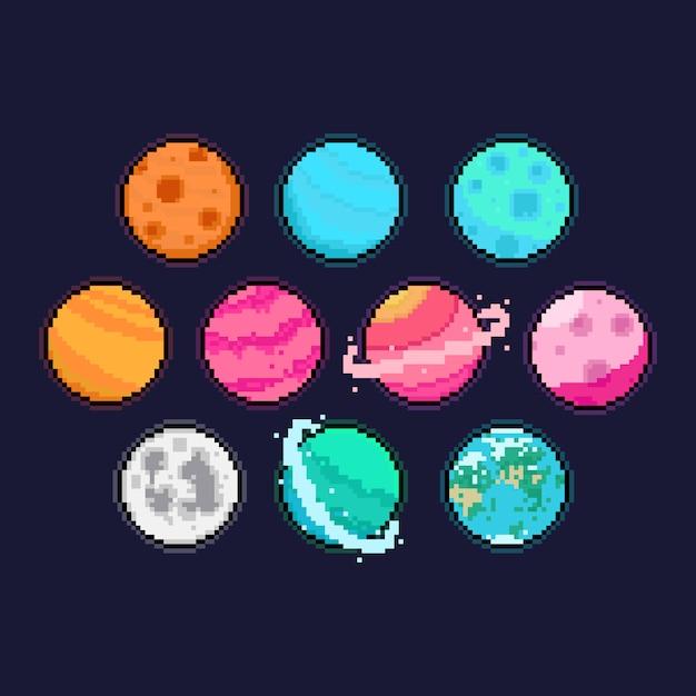 Conjunto de ícones do pixel arte dos desenhos animados planeta. Vetor Premium