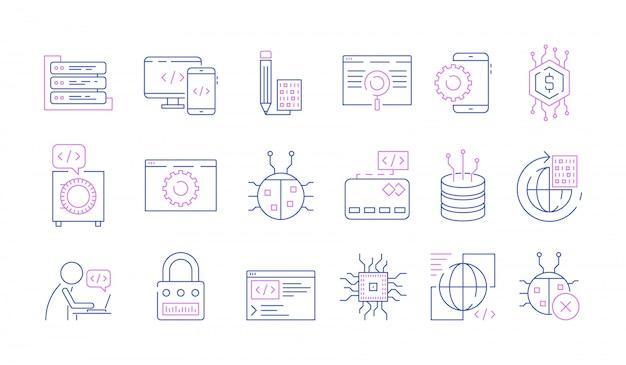 Conjunto de ícones do programador Vetor Premium