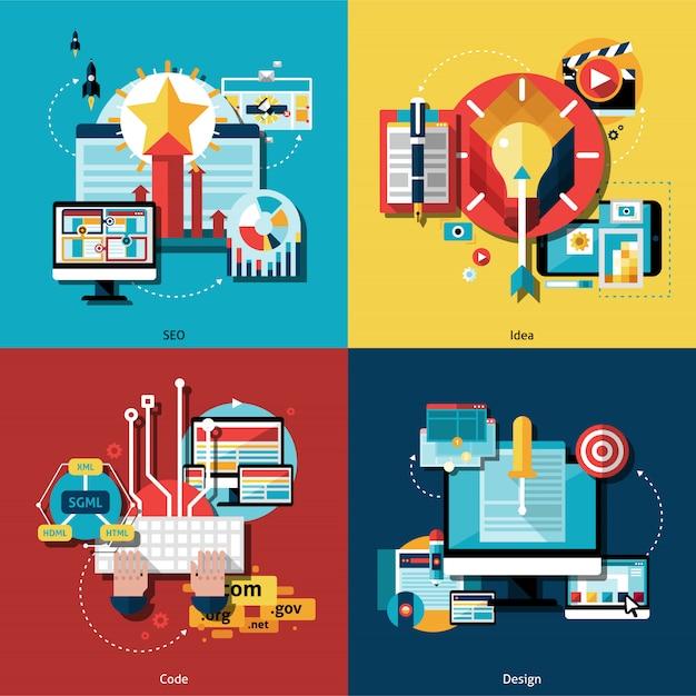 Conjunto de ícones do projeto criativo Vetor grátis