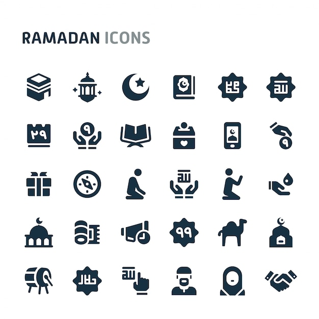 Conjunto de ícones do ramadã. série de ícone preto fillio. Vetor Premium