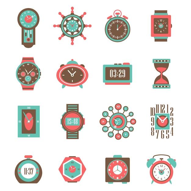 Conjunto de ícones do relógio Vetor grátis
