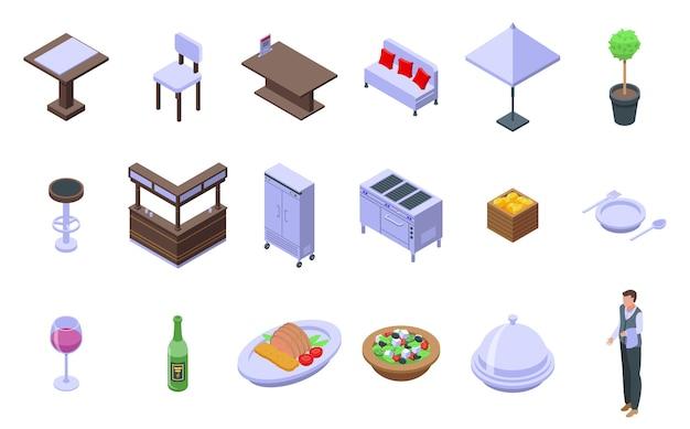 Conjunto de ícones do restaurante. conjunto isométrico de ícones de restaurante para web isolado no fundo branco Vetor Premium