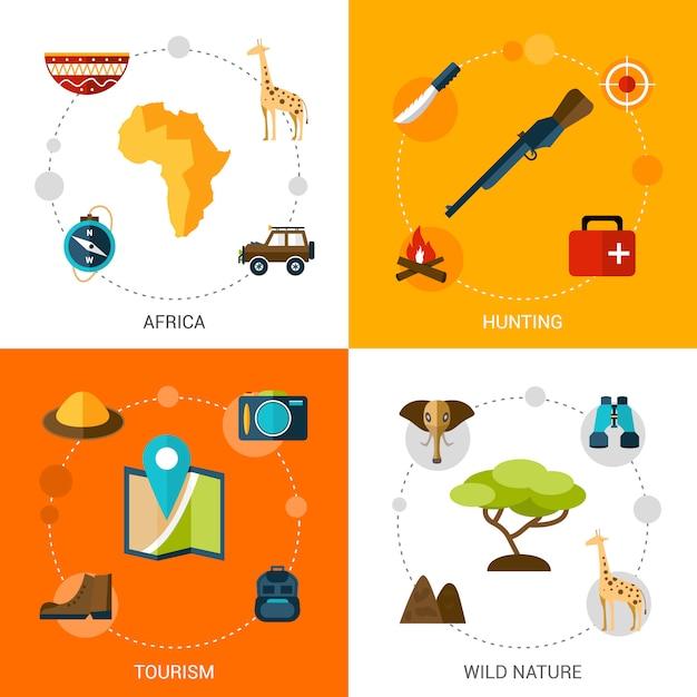 Conjunto de ícones do safari Vetor Premium