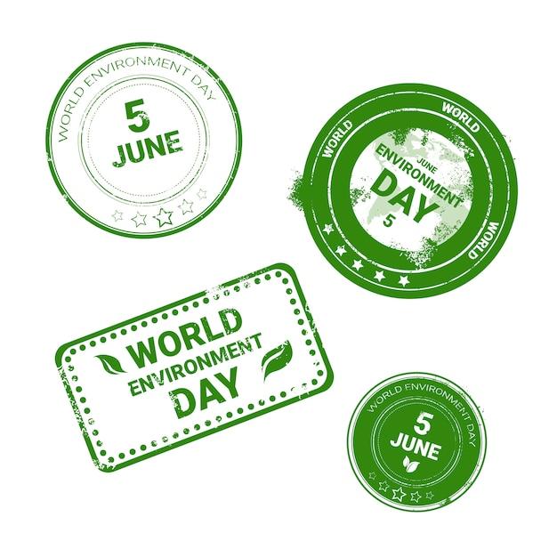Conjunto de ícones do selo do dia mundial do ambiente logotipo de pacotes do ecologia proteção Vetor Premium